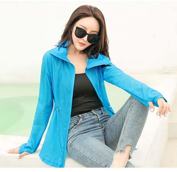 Women Summer Suncreen Clothing 2019 New Long Sleeve Womens Solid Color Beach Ourdoor Sport Clothing Hooded Coat Asian Size S-2XL Wholesale