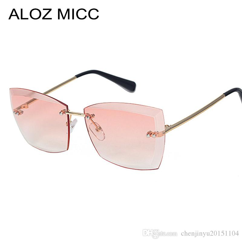 c630c4969f2 ALOZ MICC Summer Styles Women Rimless Sunglasses New Ladies Thick Cat Eye  Gradient Lens Glasses UV400 A120 Online Eyeglasses Discount Sunglasses From  ...