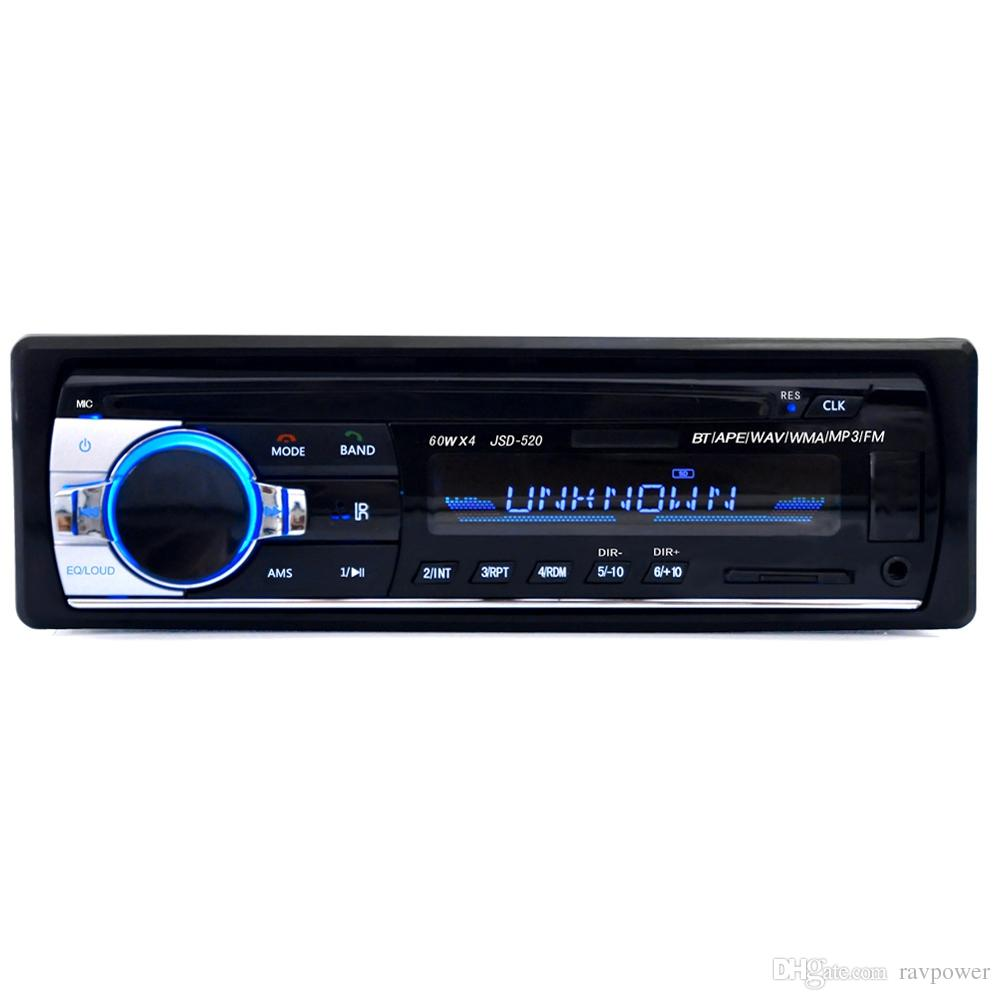 JSD - 520 12V Bluetooth V2.0 Car Stereo Audio In-dash Single Din FM Receiver Aux Input Receiver USB MP3 MMC WMA Radio Player