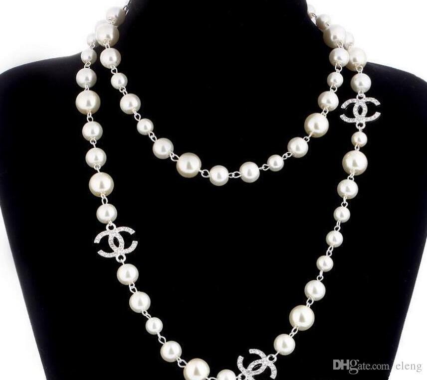 9648ccc57384 Compre 2019 CALIENTE   Suéter Largo Collar De Cadena Collar Maxi Collar De  Perlas Simuladas Mujeres Joyería De Moda Bijoux Femme Regalos De Navidad  0EXL622 ...