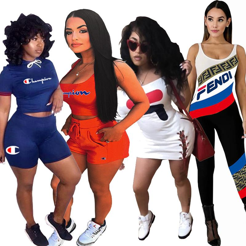 Champions Women Tracksuit Polo Tshirts Tank Tops Shorts Two Piece Outfits Sets FF Summer Stripe Jumpsuits Club Bodycon Dresses S-XL A41104