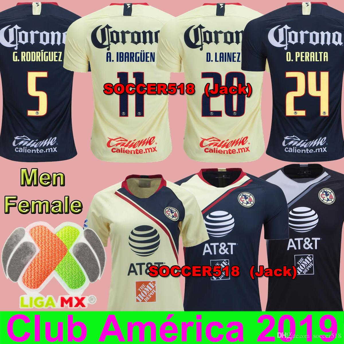 O.PERALTA   24 Club America 2018 2019 Goalkeer Negro IBARGÜEN SAMBUEZA D.  LAINEZ Camiseta De Fútbol Casa Amarilla P. AGUILAR Mexicana Liga Mx  Femenina Por ... fa64d65e8616c