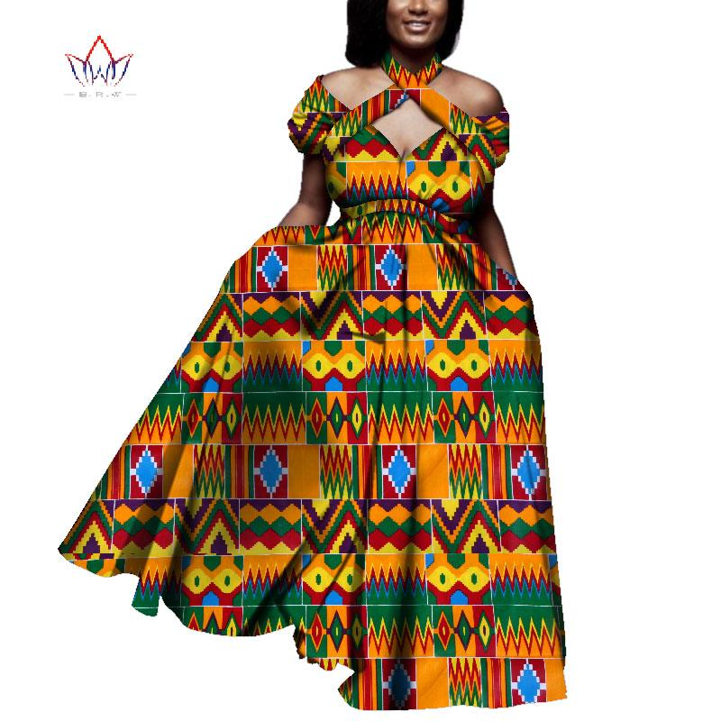 Ladies African Clothes Summer Vintage Long Dress Dashiki African Bazin Dress Print Dresses For Women Short Sleeve Wy4013