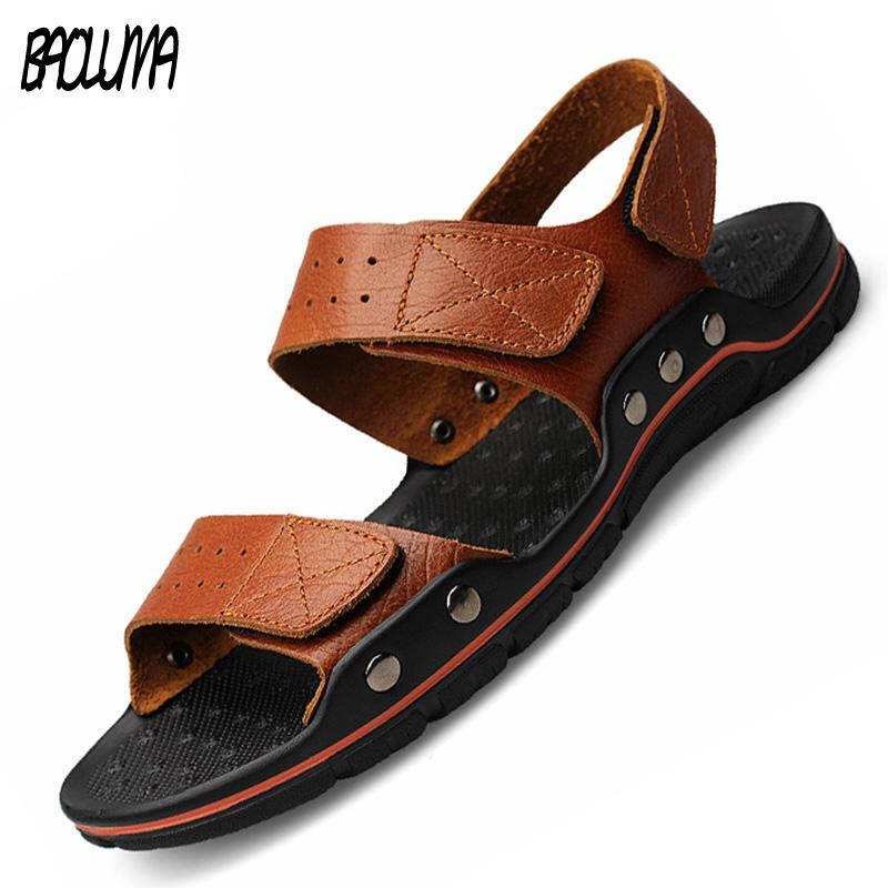 bffee5de1 Brand Sandals Men Summer Flat Sandals Male Genuine Leather Casual ...