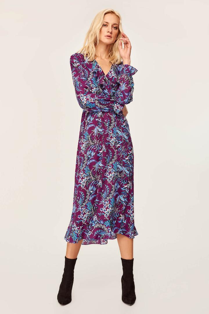 44ff4e328fa39 Trendyol Purple pattern dress TOFAW19XK0004