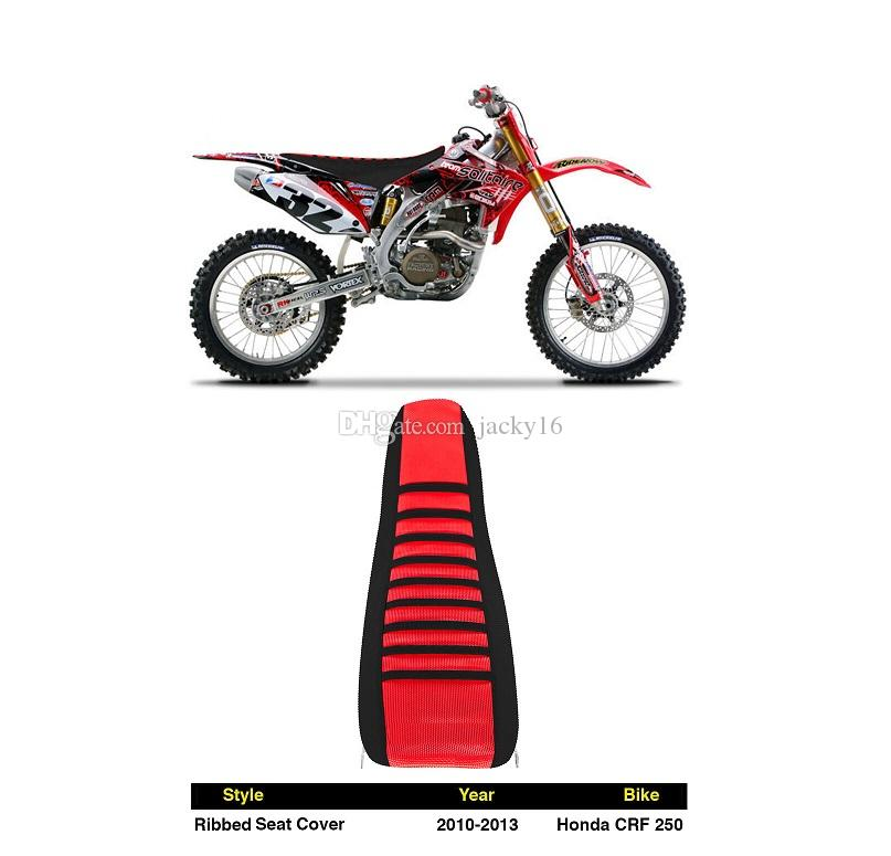 2010-2013 HONDA CRF250R Ribbed pleated SEAT COVER Factory Outlet Red Black for HOND kawasaki suzuki ktm BMW motocross OFFROAD racing parts