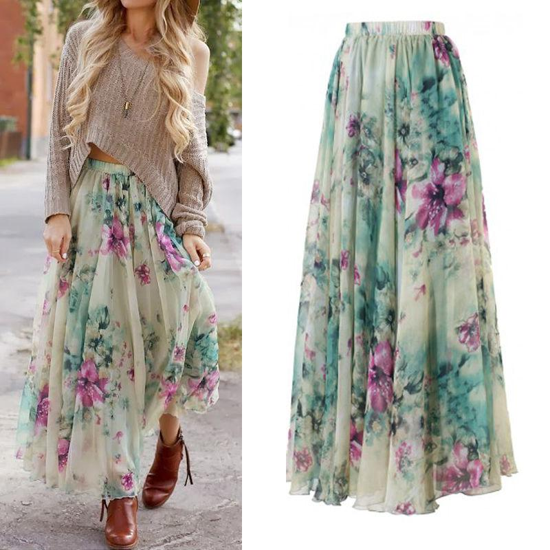 9a2660cb0a 2019 BOHO Floral Print Chiffon Skirt Womens Gypsy Floor Length Long Maxi  Skirts Summer Women Beach Pleated Skirt Fashion From Qyzs001, $14.97 |  DHgate.Com