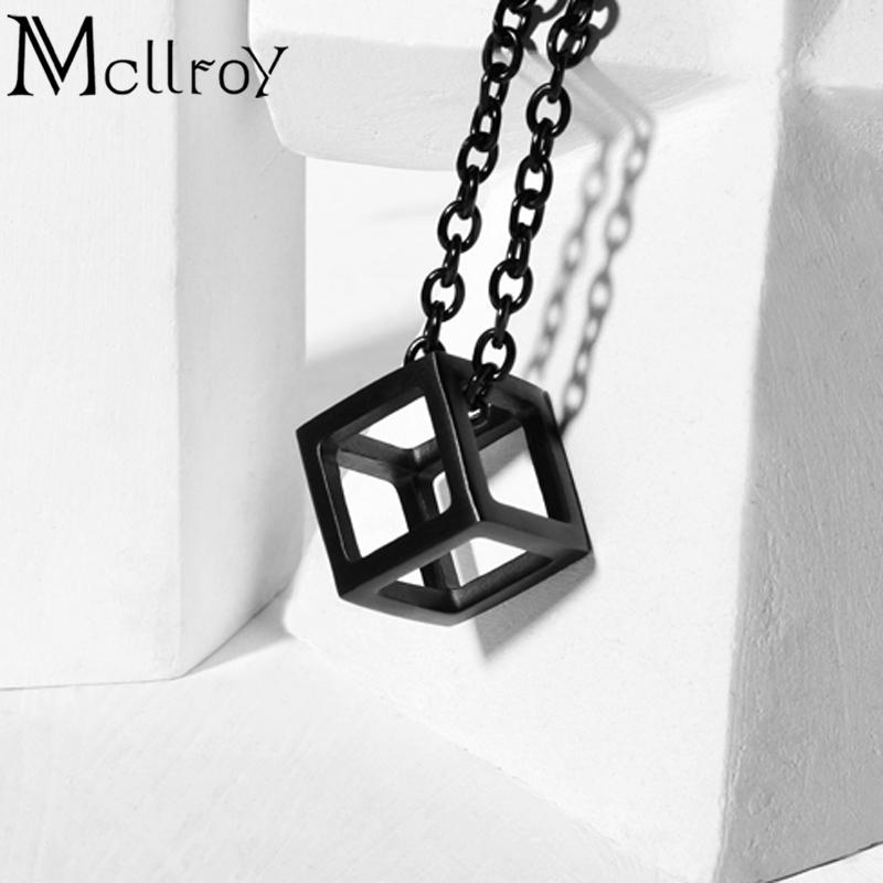 Mcllroy Cube Charm Necklace Silver Geometric Jewelry Cube Necklace Men Punk Vintage Jewelry Box Pendant Necklace For Men Collare J190530