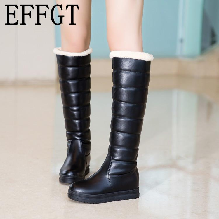 82dc7d419df EFFGT 2019 Women Boots PU Leather Knee High Long Boots Platform Plus Fur  Flat Snow Winter Female Shoes Plus Size 43 Z344 Girls Boots Black Ankle  Boots From ...