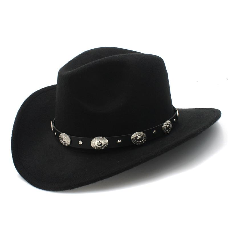 21519e720ad Wool Womem Men Western Cowboy Hat With Wide Brim Punk Belt Cowgirl Jazz Cap  With Leather Toca Gentleman Sombrero Cap 23 Mens Hats Floppy Hat From  Maxcomet