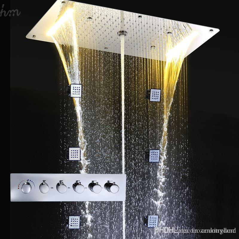 Wholesale Luxury Bathroom Accessories Shower Panel Parts Concealed Modern LED Rain SPA Faucet Body Massage Shower Jets Set T 161222# 161225