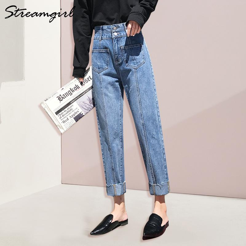 071df2042223 2019 Streamgirl Female Jeans With High Waist Women Straight Pocket Jean  Femme Ladies Jeans Pants Capris Denim Pants Women Jean 2019 From Makechic