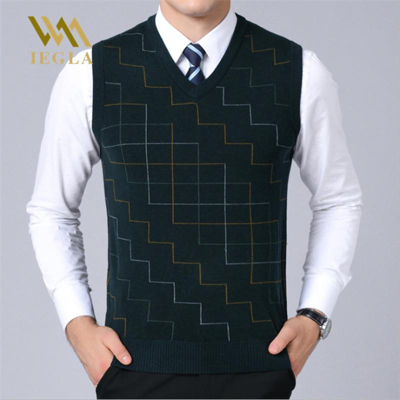 2019 Wool Sweater Vest Mens Cashmere Fashion Casual Pullovers Male