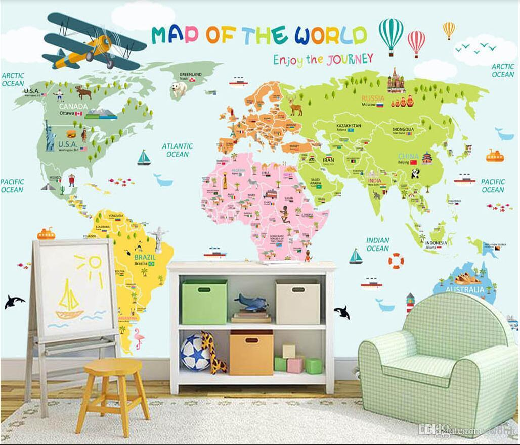 3d Wallpaper Custom Photo Cartoon World Map Background Wall Murals ...
