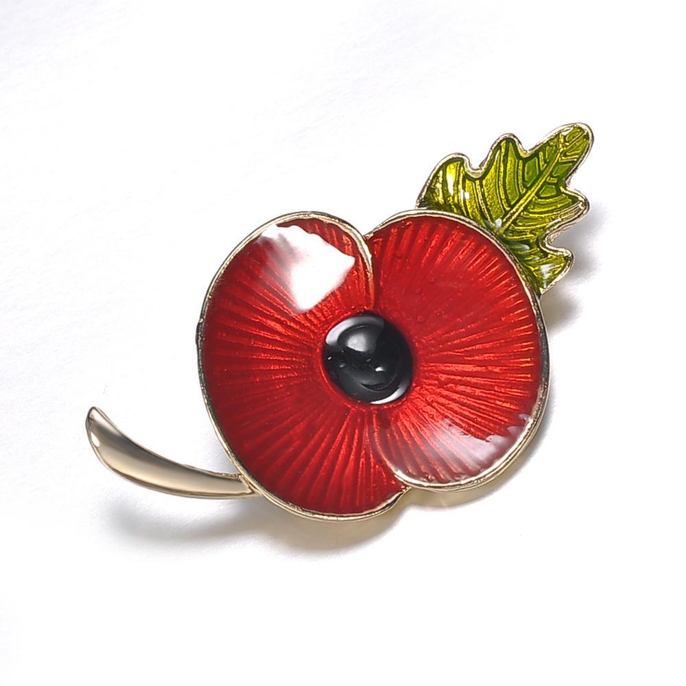 2019 New Vintage Red Enamel Poppy Flower Brooch Pin Broach For Women
