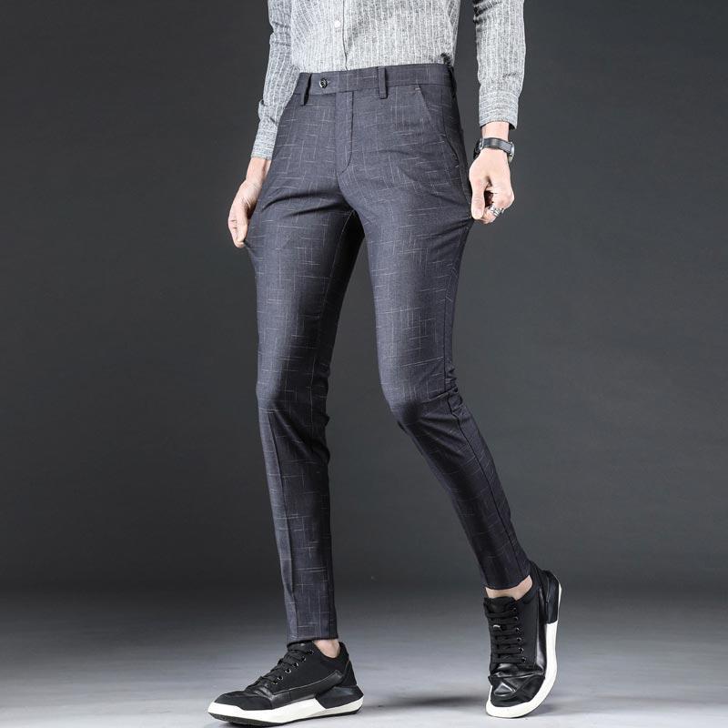 359f0a89fe Compre 2019 Traje De Verano Pantalones A Cuadros Hombres De Negocios Slim  Fit Pantalones Para Hombre Con Cremallera Formal Para Hombre Pantalones De  Vestir ...