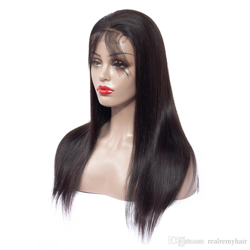 Human Hair Wigs Brazilian Medium Size Swiss Lace Cap 4x4 Lace Front Wig with Bangs Bleached Knots PrePlucked Hairline Straight Hair