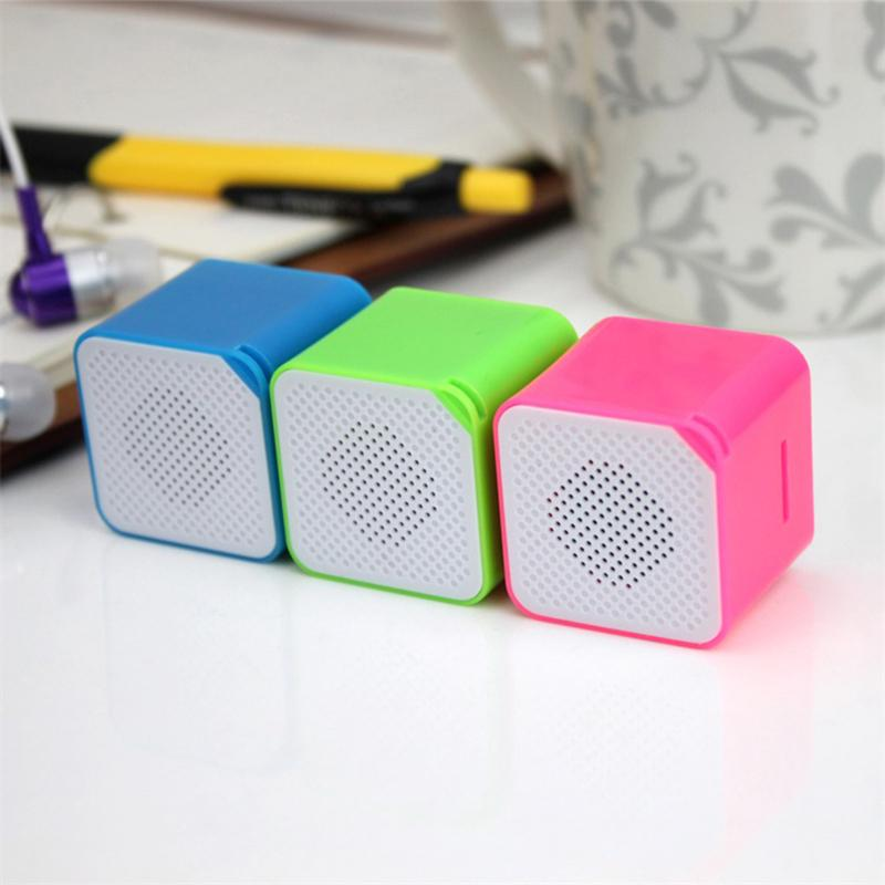 Portable Mini Colorful Speaker Card MP3 Music Player Cube Shape Audio Player Lightweight Speaker Support TF Card Car Accessories