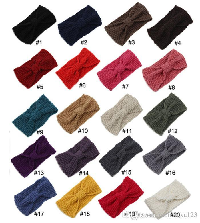 20 colores de moda Hair Band Winter Warm Women Wool Knitting Girls Hair Accessories Crochet Bow Diadema para mujeres regalo D493