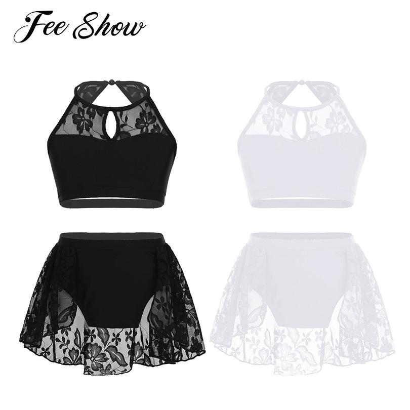 58fa04677052 2019 Kids Girls Latin Dance Dress Outfit Sleeveless Halter Lace Crop ...