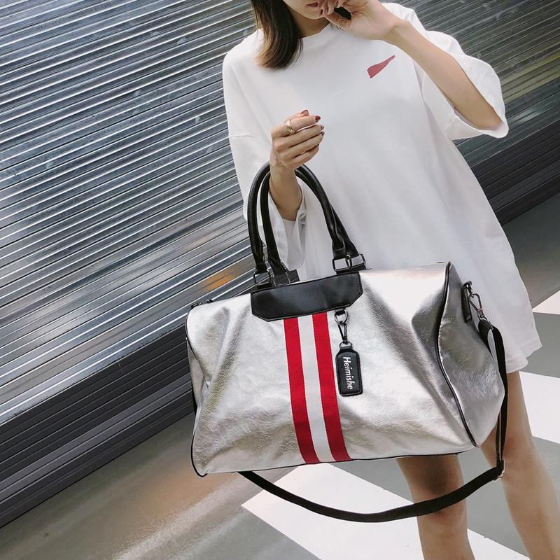 03dd3ebd70b Hot Sale Women Men Unisex Travel Bag 2019 Stripe Sports Handbag Beach  Crossbody Bag Fashion Couples Luggage Package Waterproof Sports Bags Gym  Bags For Men ...