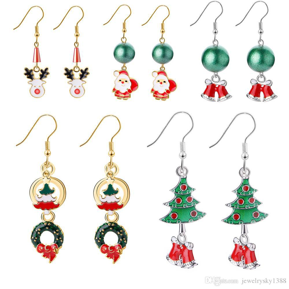 Christmas fashion jewelry creative new cartoon 3D Santa Christmas bell Elk Snowman ear studs Christmas series crystal earrings New Year gift