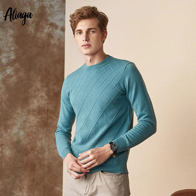 3d02ba462d9 Handmade 100% Goat Cashmere Sweaters Men s Slim Fit Rib Knit Autumn Winter  Sweater Solid Casual Jumpers Round Collar Pullovers