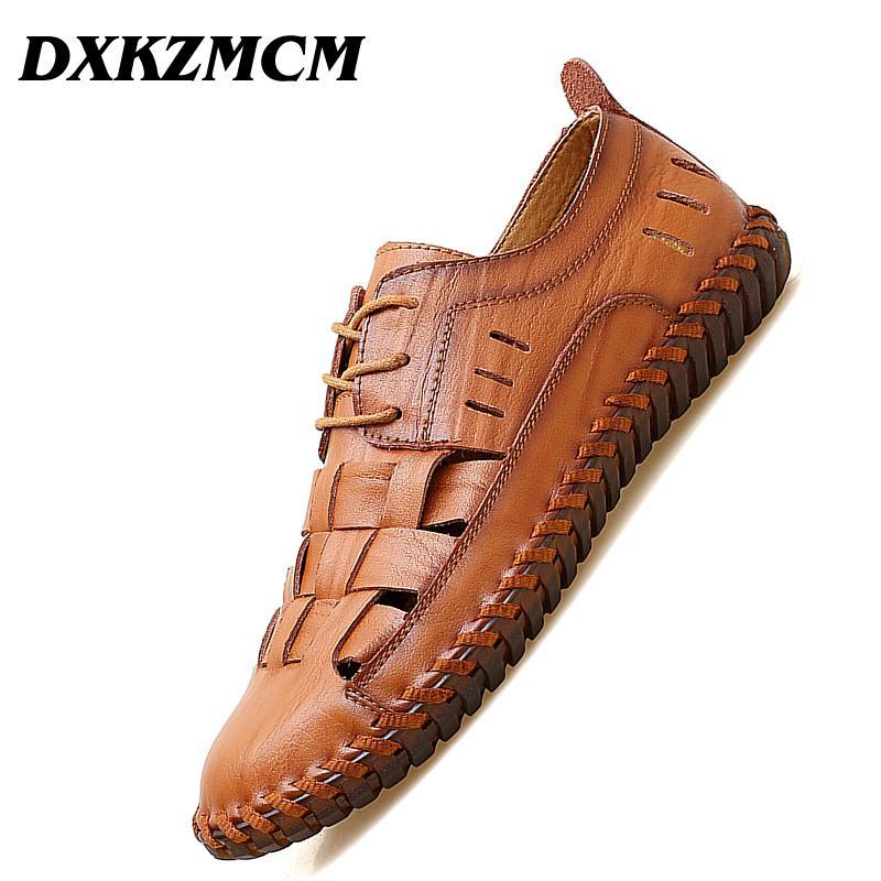 e95df1549a0 DXKZMCM Men Casual Beach Shoes Summer Sandals Soft Sole Fashion Men Genuine Leather  Slippers Flip Flops Men s Sandals Cheap Men s Sandals DXKZMCM Men Casual ...