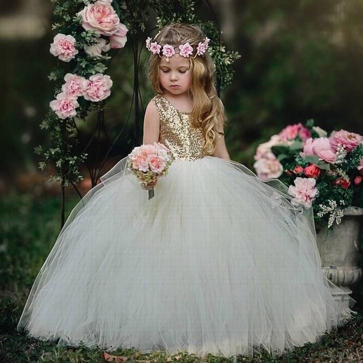 0202734c77329c Nouveau Charme Or Paillettes Tulle Fleur Fille Robe Fille Parti Princesse  Pageant Enfants Formelle Occasion robes YTZ253