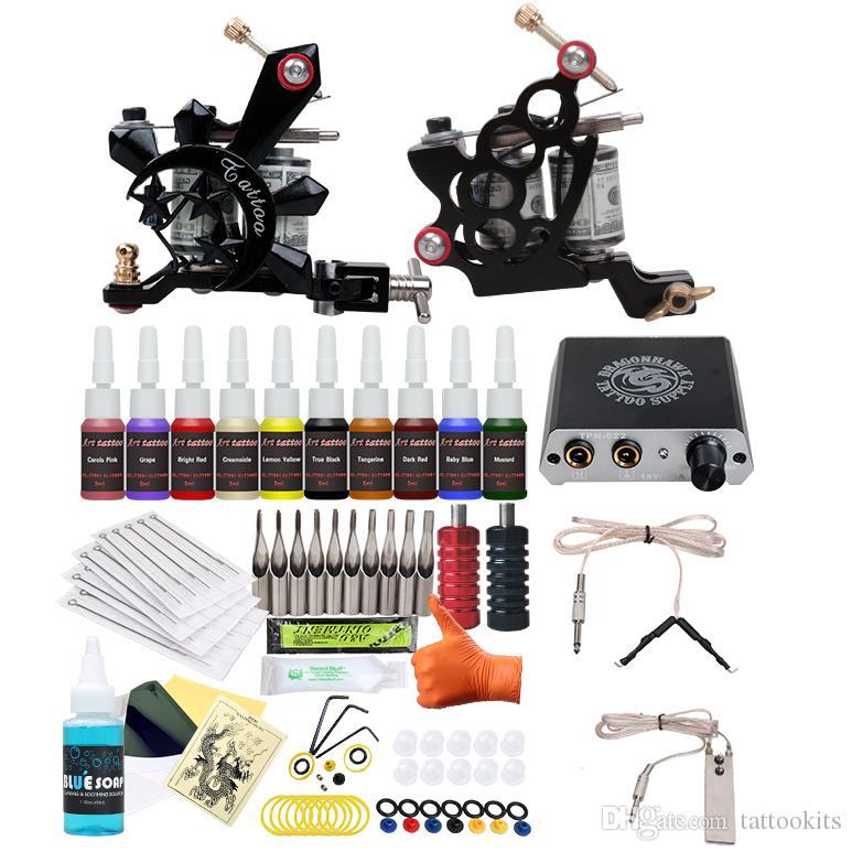 Beginner Tattoo Kit 2 Guns Machines 10 Inks Tattoo Set Equipment ...