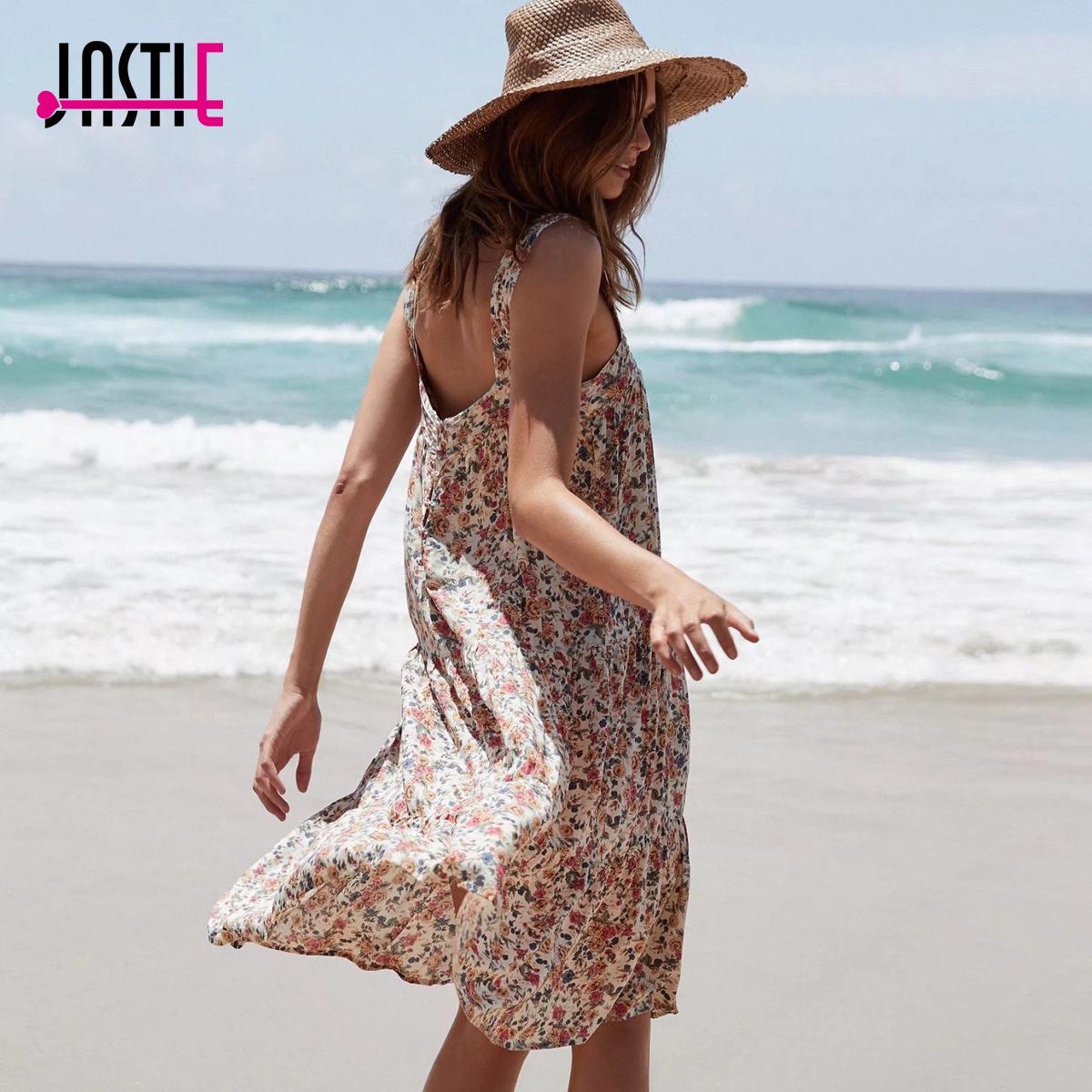 e7452c5ef0 Jastie 2018 Summer Women Dress Boho Vintage Floral Midi Dresses Casual  Beach Dress Party Dresses Vestidos Female Clothing J190505