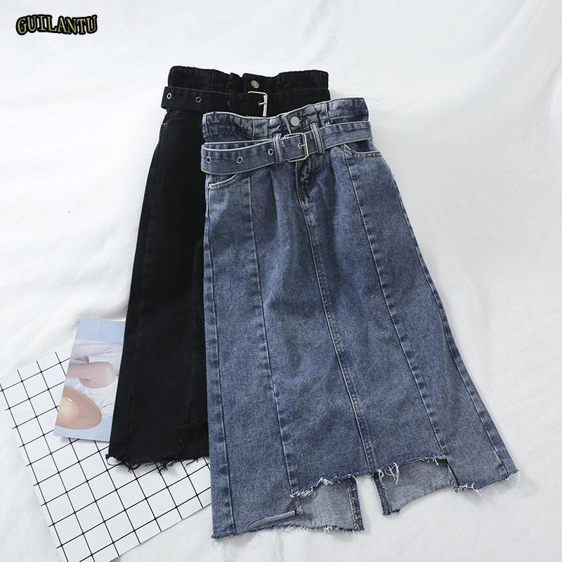 553f7212c 2019 Summer Sexy Sashes Bandage Midi Denim Skirt Women High Waist Black  Blue Tassel Elegant Jeans Wrap Skirt Female Cute Festiva From Lastdoc