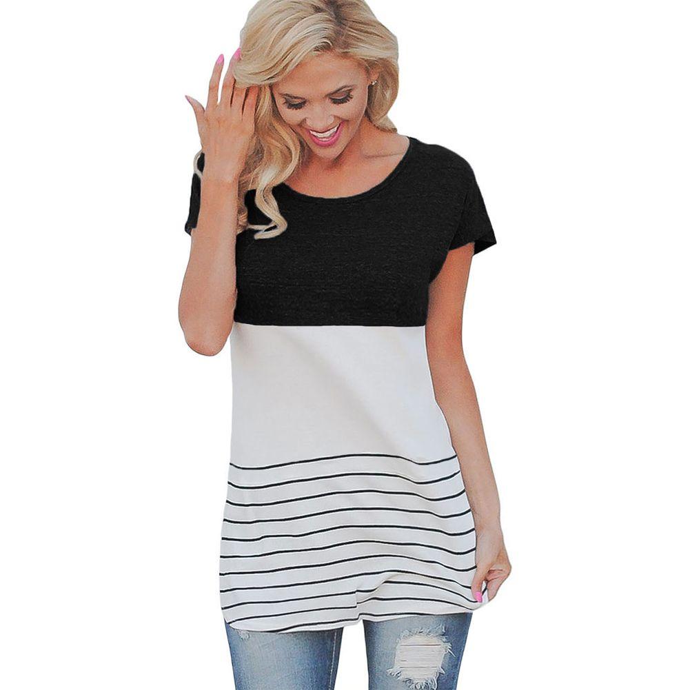 c4033de4337 Casual Female T Shirt Fashion Women Color Block Striped T Shirt Short Sleeve  Casual Slim Knitted Tee Tunics 5XL Plus Size Tops Graphic T Shirt Design  Own T ...