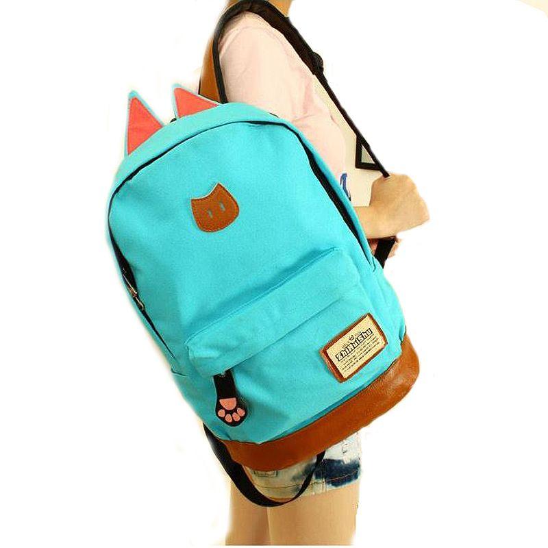 49845d2b2f3c 2019 Campus School Bag Girls Backpack Women Travel Bag Young Men Canvas Backpack  Bags Cat Ears Cartoon Package442 Jansport Backpacks School Bags From ...