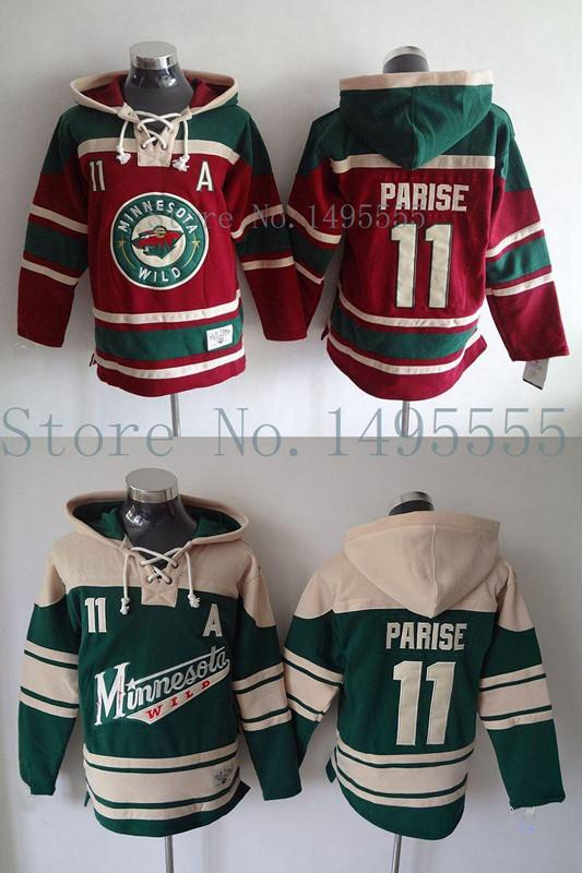 Factory Outlet, Minnesota Wild #11 Zach Parise Jerseys Old Time Men's Double stiched Hoodies Hockey Jersey Green Sweatshirt