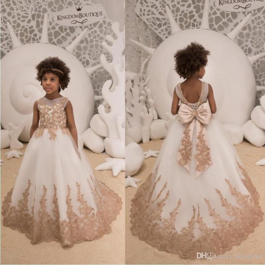 5271803d3ad Lovely Gold Appliques Flower Girls  Dresses 2019 Kids Toddler Formal  Pageant Birthday Communion Gowns with Big Bow Sash Back Floor Length