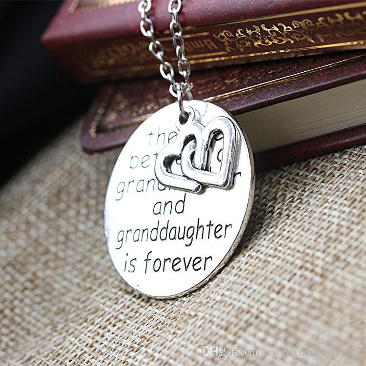 Letter Necklace Tag Engraved Bible Stainless Steel pendant necklace Grandmother Family Necklaces