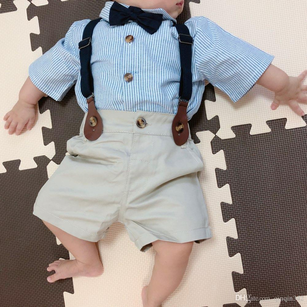 baby boy gentlemen 3pcs outfits sets 2017 summer newborn baby boy clothing sets tie shirt+overall infant clothes for party wear