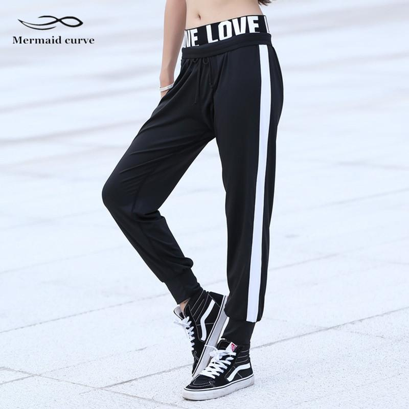 5c3d31cfdd9f 2019 Mermaid Curve Letter LOVE Women Outdoors Running Elastic Band Jogger  Pant Trousers Quick Dry Sports Fitness Gym Loose Full Pant From Cloudyday