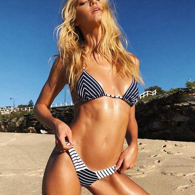 03cbcae3c24 2019 2019 Sexy Micro Bikini Women Swimwear Striped Thong Bikini Strappy  Swimsuit Triangle Cup Biquini Cheeky Push Up Beachwear From  Dongguan_wholesale, ...