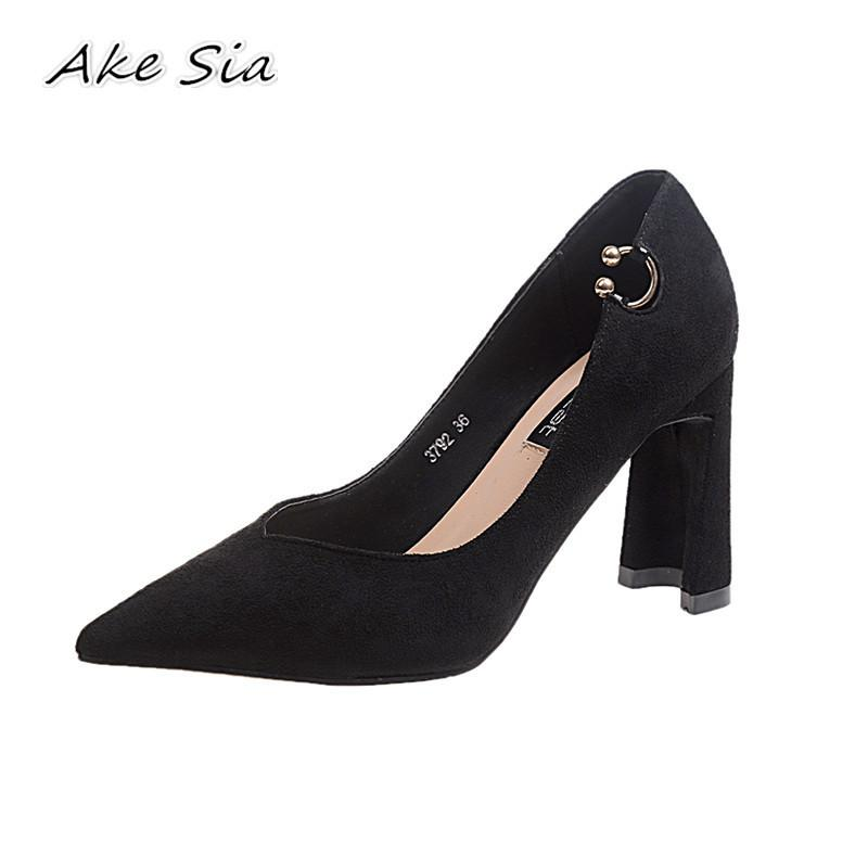 Designer Dress Shoes 2019 spring new fashion pointed thick with high heels women sexy shallow mouth simple y05