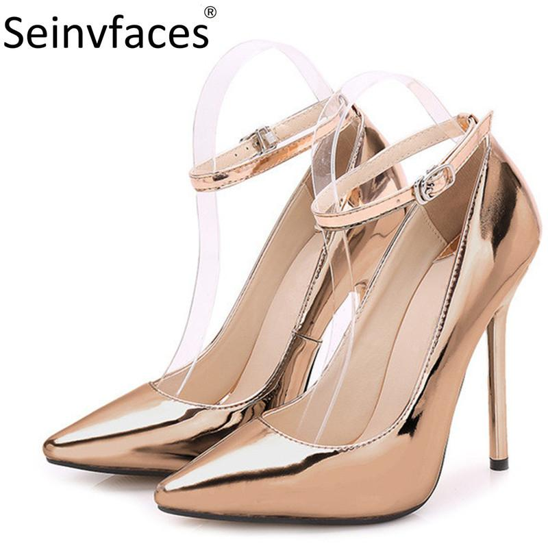 2e622519d6 Dress Plus Size 41 42 43 44 Women'S Office Lady Patent Leather Red Blue  Black Gold Pointed Toe Shallow 13cm Thin High Heels Pumps F28 Summer Shoes  Womens ...