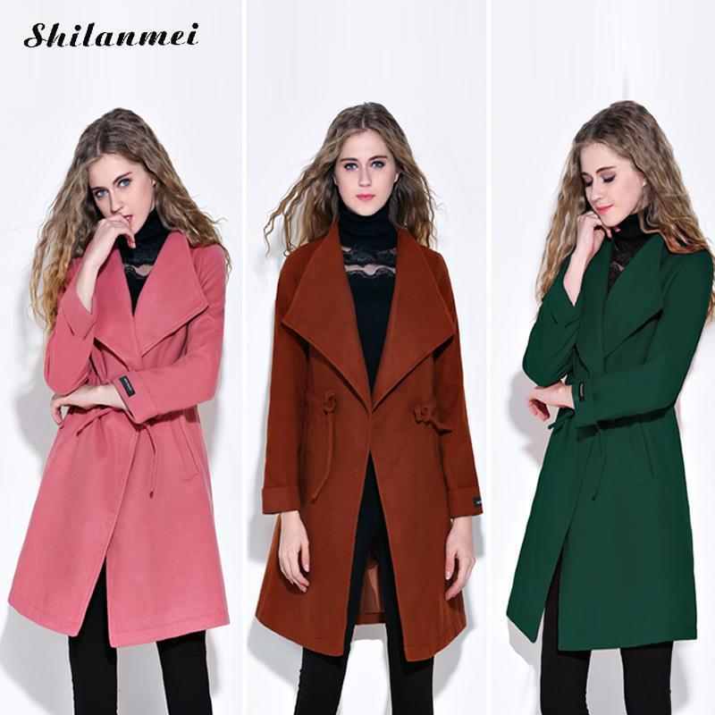 e0d9977094c Winter Spring Woman Fashion Elegant Woollen Cotton Coat Hot Pink ...