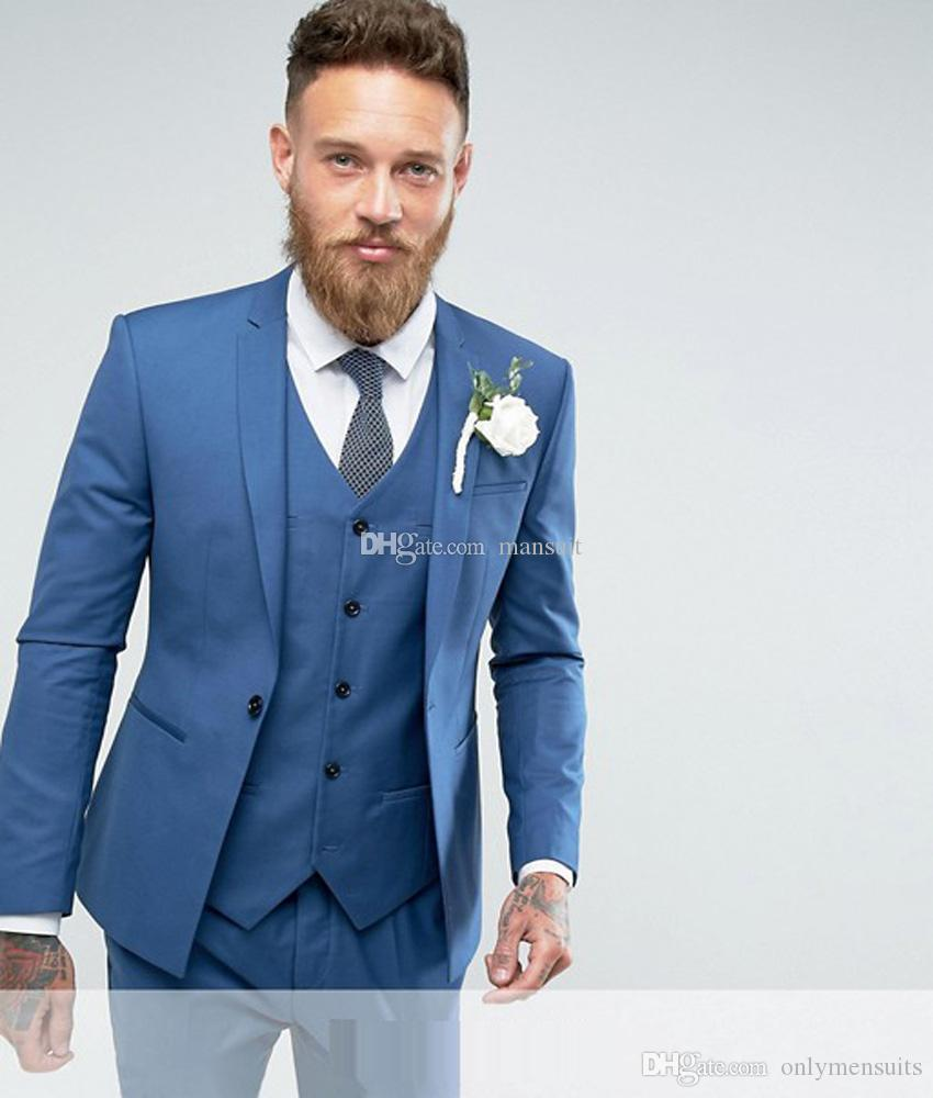 Custom Made Groomsmen Notch Lapel smokings marié bleu hommes Costumes de mariage / bal / dîner Best Man Blazer (Veste + Pantalon + Gilet + Tie) M1164
