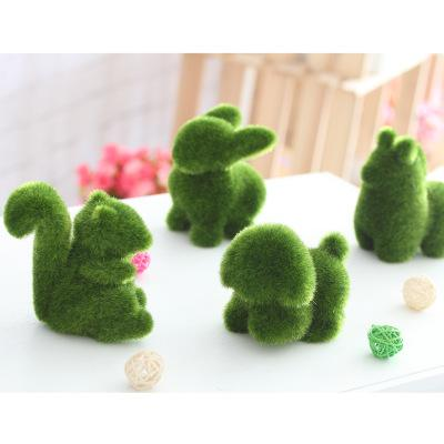 Handmade Artificial Turf Grass Animal Easter Home Office Ornament Office Decor 4 Styles Rabbit squirrel alpaca puppy EEA451