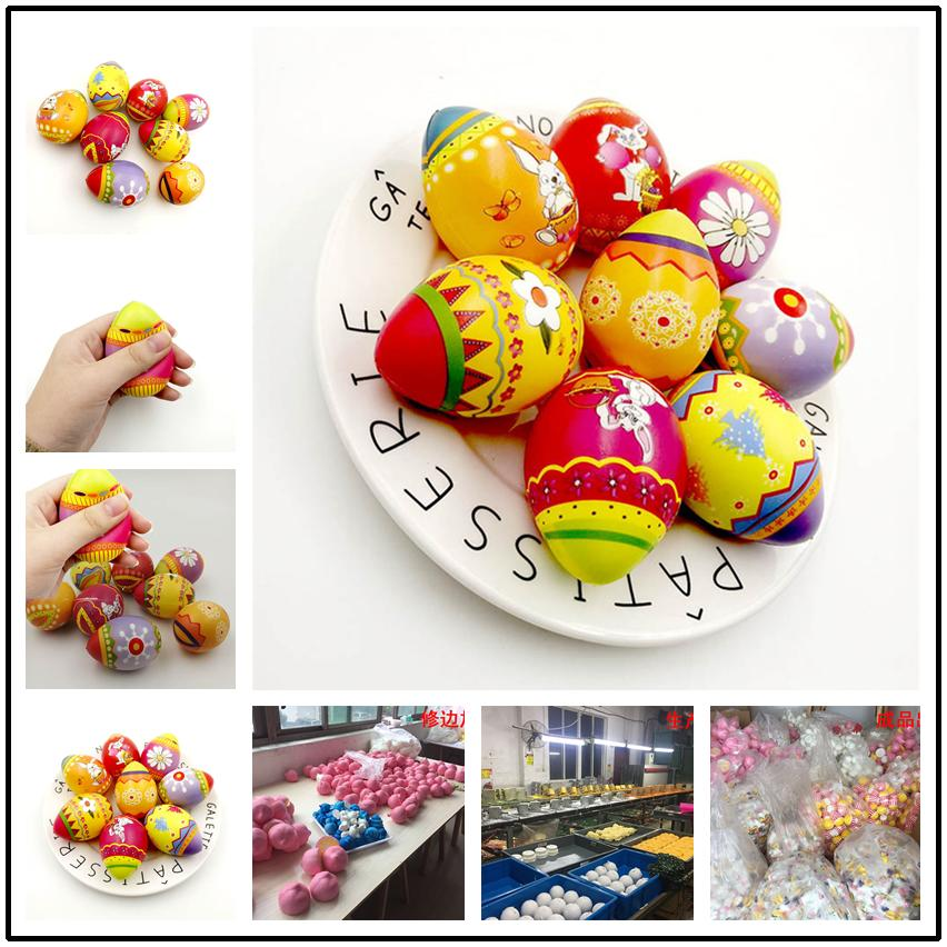 Squishy Easter Eggs Slow Rising Jumbo Multicolor Eggs Pu Sponge Foam Color Printing Ball Toys Squeeze Decompression Brithday Party Gifts
