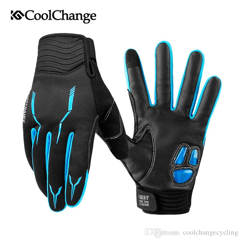 CoolChange Cycling Gloves Winter Thermal Windproof Bicycle Gloves Outdoor Sport MTB Bike Glove Full Finger GEL For Men Women
