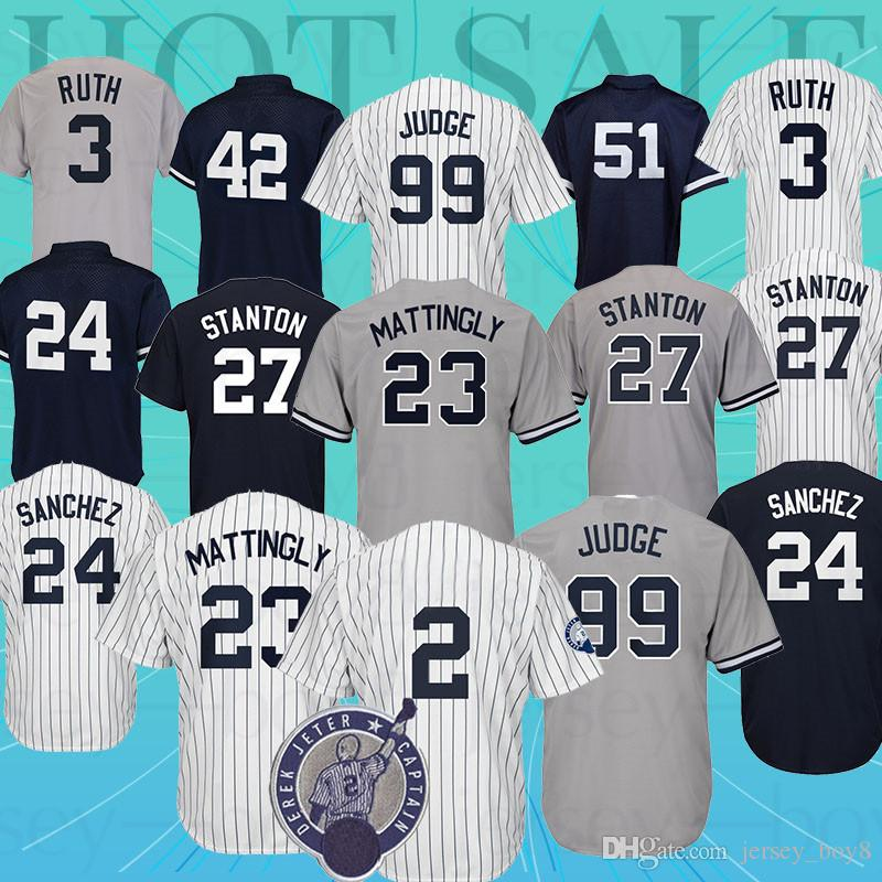 new style 74945 fe815 99 Aaron Judge New York Yankees jersey 42 Mariano Rivera 23 24 3 Babe Ruth  7 Mickey Mantle 51 Bernie Williams jerseys