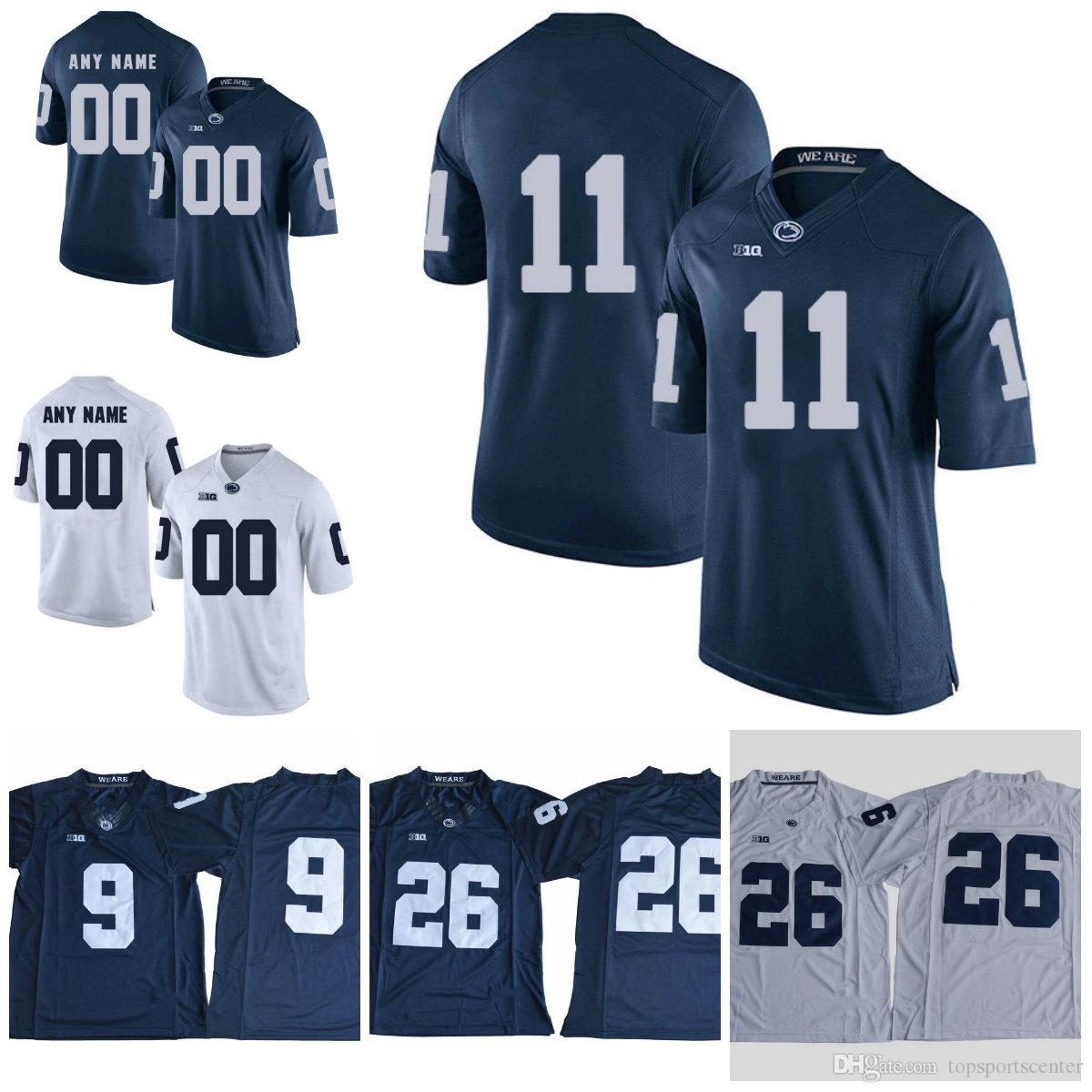 save off d321a c5504 Custom Penn State Nittany Lions #11 Micah Parsons no name Jersey 1 KJ  Hamler 26 Barkley McSorley 2 Marcus Allen PSU Navy Blue White Jersey