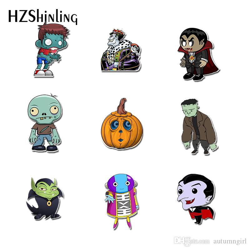 HZSHINLING New Cartoon Brooch Halloween Shrinky Dinks Acrylic Brooches for Clothes Backpack Decoration Pins Accessories
